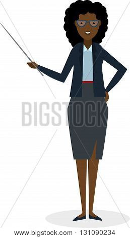Businesswoman with pointer on white background. Businesswoman standing isolated. Presenter and salesman. Smiling positive african american woman.