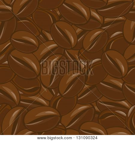 Seamless coffee beans pattern. Natural fresh grain. Arabica flavor. Energy drink.