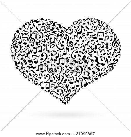 Isolated heart made of notes on white background. Heart shaped pattern. Musical art.