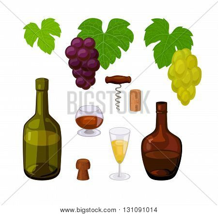 set of color winery icons with grape leaves, bunches of grapes, bottles, corks, corkscrew, glasses