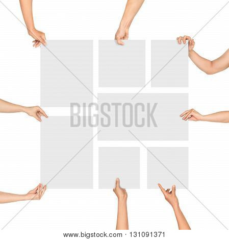 Hands holding blank sheets of paper form a square on an isolated white background