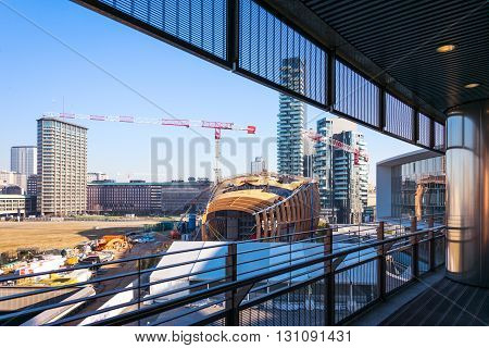 Milan Italy - February 10 2015: Porta Nuova the construction site seen from the Unicredit Tower