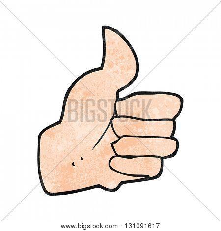 freehand textured cartoon thumbs up symbol
