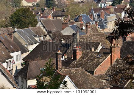 Chaumont en Vexin France - march 14 2016 : the city view from the church