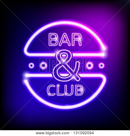 Neon glowing frame on blue dark background. Signboard for bar and nightclub. Vector illustration. EPS 10