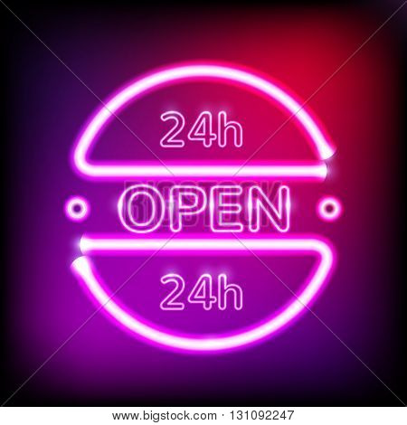 Neon glowing frame on dark violet background. Retro club inscription Open around the clock. 24 hour. Vector illustration. EPS 10