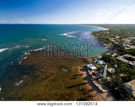 Aerial view of Praia do Forte in Bahia, Brazil