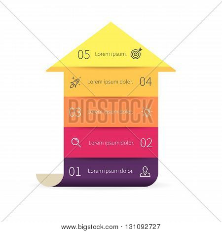 Arrow for infographics. Diagram with 5 steps. Vector design element.