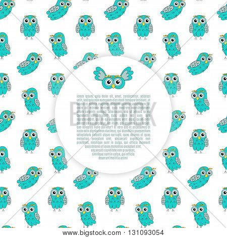 Frame owl turquoise vector seamless pattern. vector illustration owl.