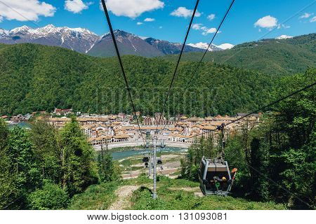 GORKY GOROD, SOCHI, RUSSIA MAY 01, 2016: Panoramic View from Gondola Lift of Gorky Gorod, Krasnaya Polyana