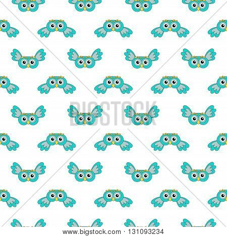 Owlet turquoise vector seamless pattern. vector illustration owl.