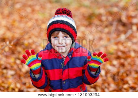 Portrait of happy cute little kid boy with autumn leaves background in colorful clothing. Funny child having fun in fall forest or park on cold day. With hat and gloves