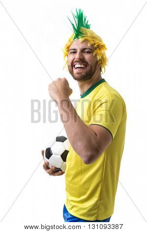 Brazilian funny fan on white background