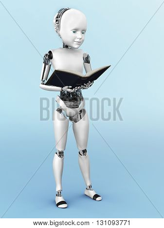 Robot child standing up holding a book in its hands and reading. 3D rendering. Bluish background.