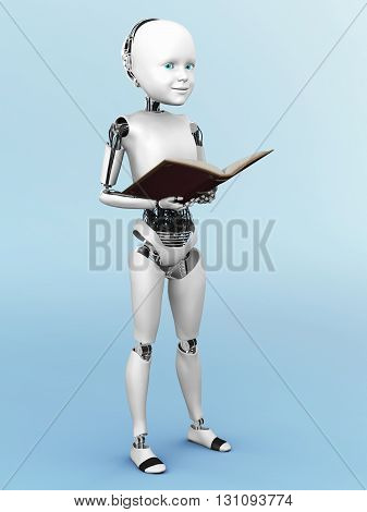 Robot child standing up holding a book in its hands. 3D rendering. Bluish background.