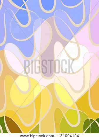 Abstract wave color background of doodle hand drawn lines. Colorful floral pattern.