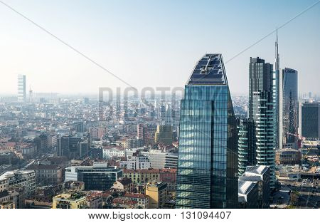 Milan Italy - February 18 2015: City scape from the Grattacielo of Della Repubblica square