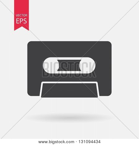 Cassette Icon Vector. Cassette sign isolated on white background. Cassette silhouette. Vector Flat design