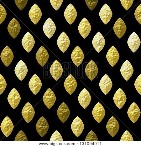 Abstract seamless gold, brown and white grained relief pattern on a black background. Bumpy pattern of beveled brown, yellow and gold oval shapes
