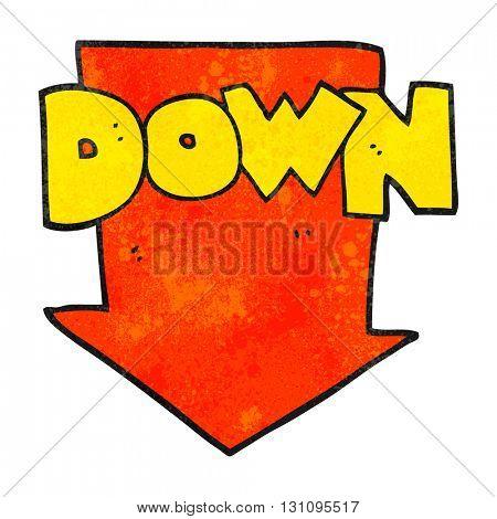 freehand textured cartoon down arrow symbol