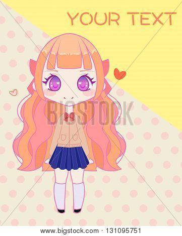 Cute anime style japanese school girl template