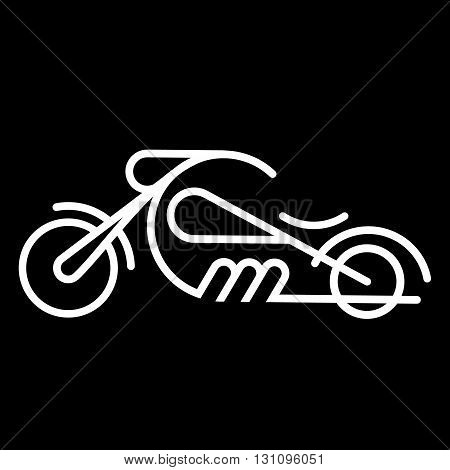 Chopper motorcycle line art vector icon isolated on a black background.