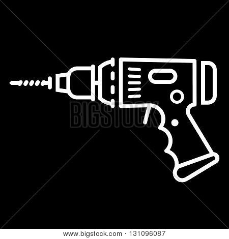 Electric drill line art vector icon isolated on a black background. Hammer drill perforator.