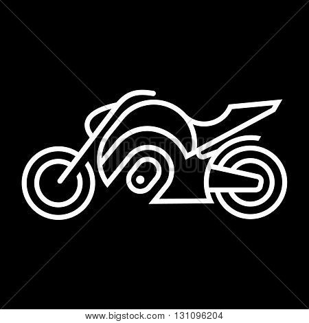 Motorcycle line art vector icon isolated on a black background.
