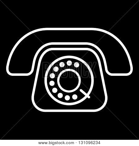 Old style phone line art vector icon isolated on a black background.