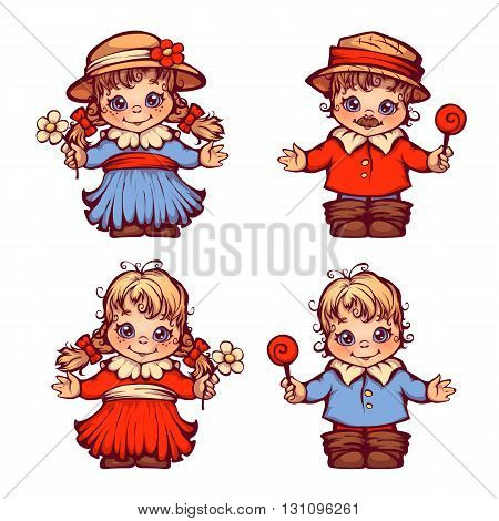 Vector set of sweet children for Festa Junina party.