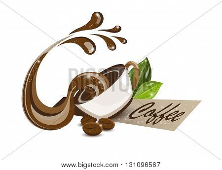poured coffee isolated white background, vector illustration.