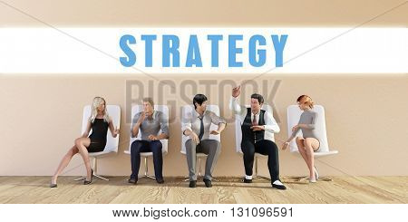 Business Strategy Being Discussed in a Group Meeting 3D Illustration Render