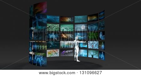 Video Marketing Across Multiple Channels and Networks 3D Illustration Render