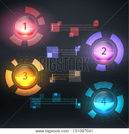 Infographics circles with descriptions. Vector illustration. can be used for workflow layout banner diagram number options step up options web design.