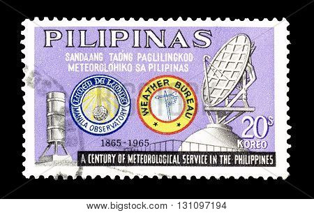 PHILIPPINES - CIRCA 1965 : Cancelled postage stamp printed by Philippines, that promotes Meteorological service.