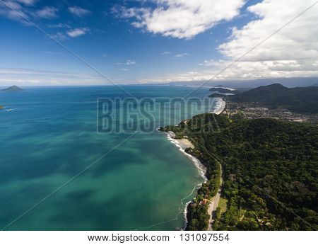 Aerial View of Beaches in Sao Sebastiao, Sao Paulo, Brazil