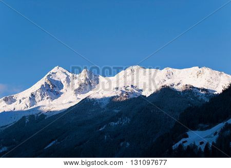 View from Neustift on Stubai peaks in morning