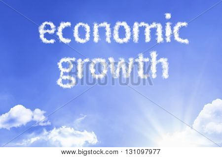 Economic Growth cloud word with a blue sky