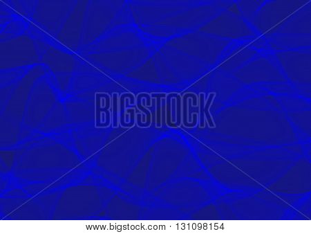 Abstract Illustration of wavy lines on blue background. Curving blue abstract backdrop