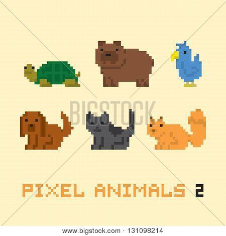 Pixel art style animals cartoon vector set two