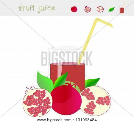 Banner Pomegranate juice. A glass of juice, straw yellow, pomegranate with green leaves, cut pomegranate on white background, vector