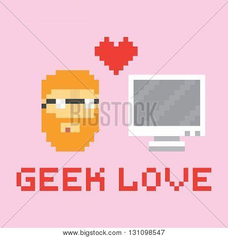 Pixel art style geek in love with computer vector