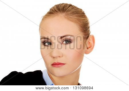 Thoughtful and worried business woman