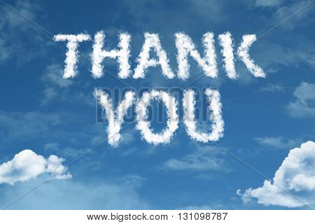 Thank You cloud word with a blue sky