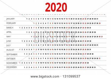 Calendar for 2020. Week Starts Sunday. Simple Vector design