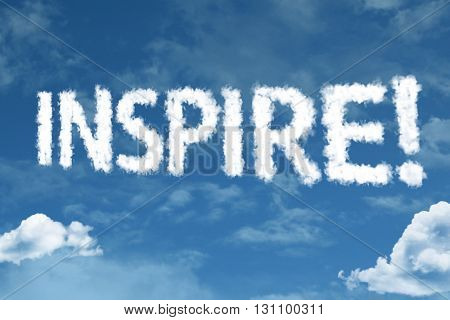 Inspire cloud word with a blue sky