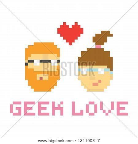 Pixel art style geek couple in love vector