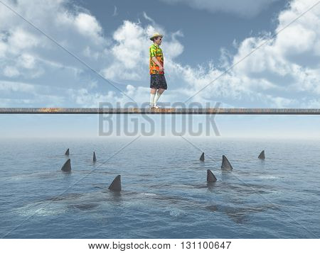 Computer generated 3D illustration with a man balancing on a board over the ocean with great white sharks