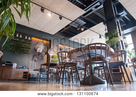 Low angle of elegant restaurant with contemporary design