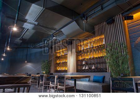 Elegant furniture in modern restaurant create special atmosphere